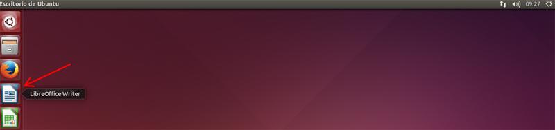 Icono de Writer en la barra de lanzadores