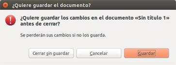 Ventana que pregunta si se desea guardar el documento