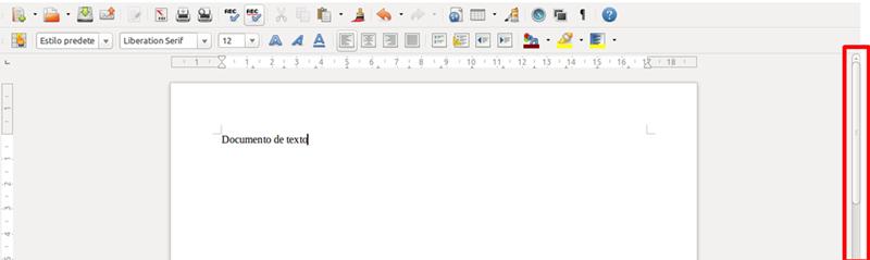 Barra de desplazamiento de un documento de Writer