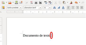 Punto de inserción en un documento de Writer