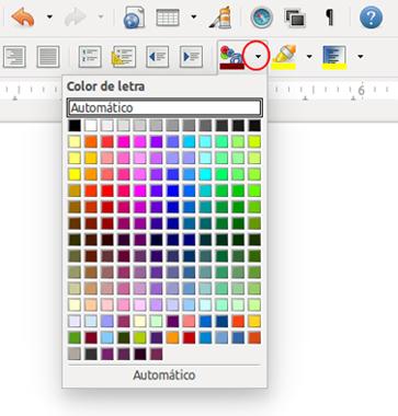 Botón de color de letra