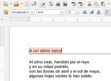 Texto seleccionado en un documento de Writer
