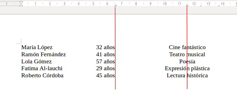 Texto con tabulación derecha y con tabulación centrada