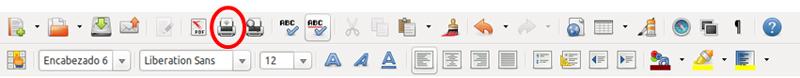 Botón de impresión en la barra de herramientas