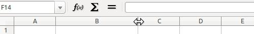 Flecha del puntero para ensanchar o reducir las columnas