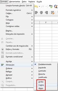 Opciones de alineación vertical en el menú Formato