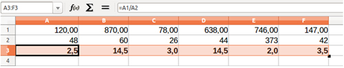 Fila con decimales seleccionados