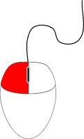 Ratón con el botón izquierdo marcado en rojo