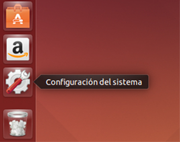 Icono de configuración del sistema en el menú de lanzadores