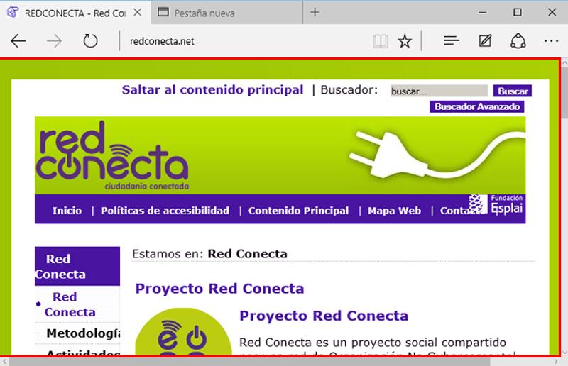 Área central del navegador