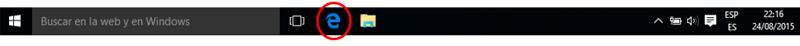 Icono de Edge en la barra de tareas de Windows 10