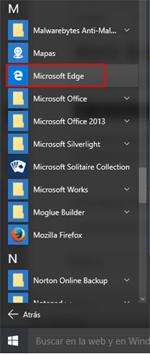 Acceso a Edge desde el menú de Windows