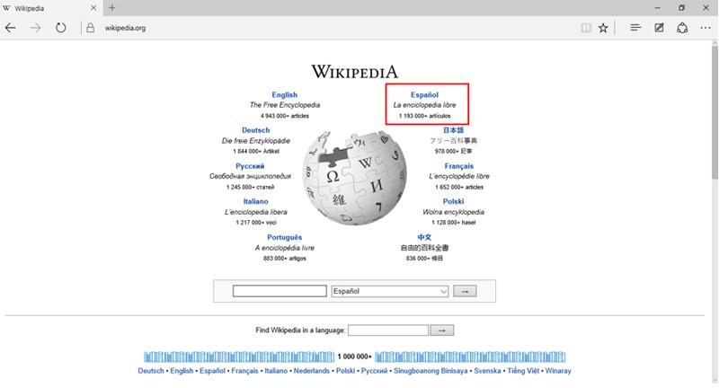 Página de inicio de la Wikipedia