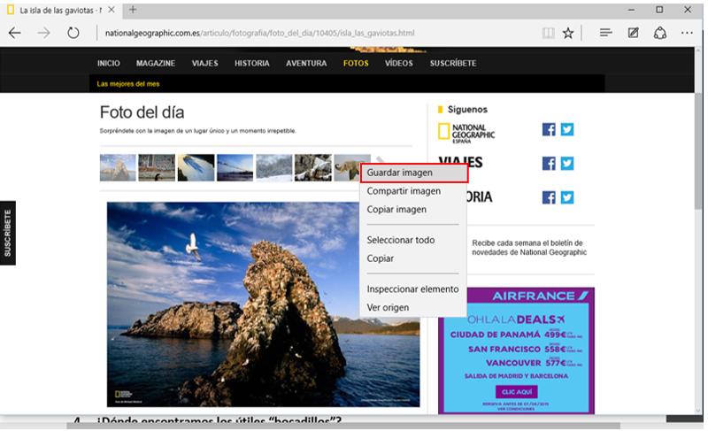 Opción Guardar imagen en el menú contextual de una imagen