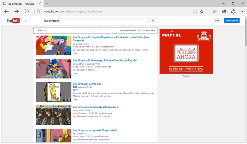 Resultados de una búsqueda en YouTube