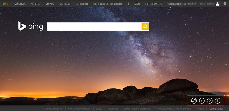 Botones del fondo de Bing
