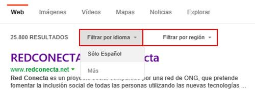 Filtros de idioma y región en Bing