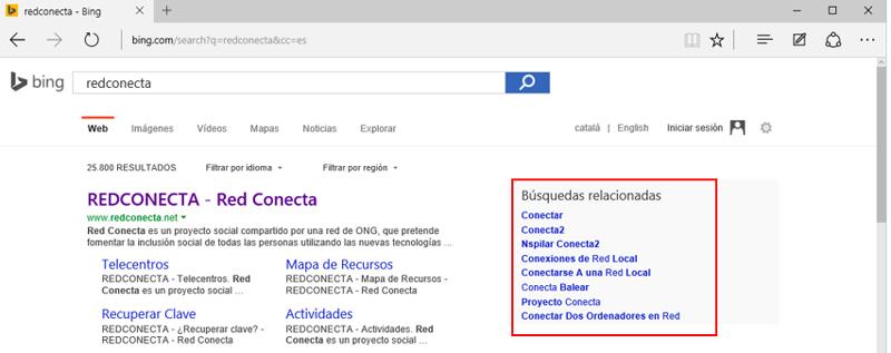 Búsquedas relacionadas en la página de resultados de Bing