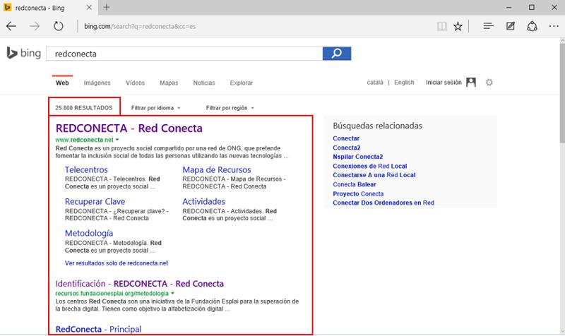 Resultados que muestra el buscador Bing