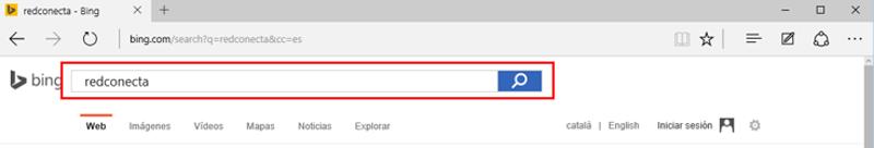Casilla de búsqueda en la página de resultados de Bing