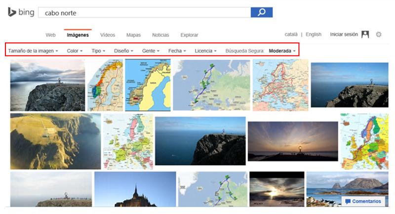 Página de resultados de una búsqueda de imágenes en Bing