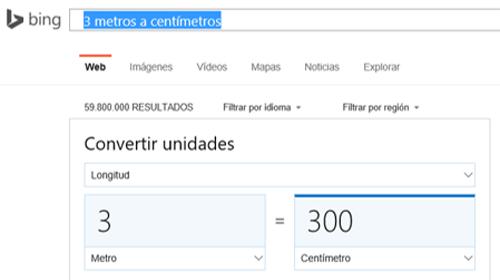 Bing Convertir Unidades