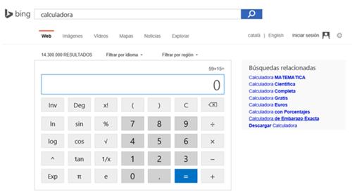 Calculadora del buscador Bing
