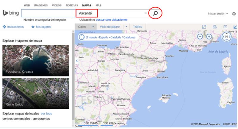 Búsqueda en el buscador de mapas de Bing