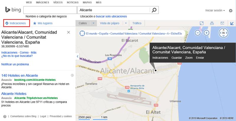 Enlace Indicaciones en la página de búsqueda de mapas