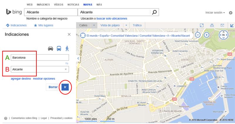 Opciones de Indicaciones en el buscador de mapas de Bing