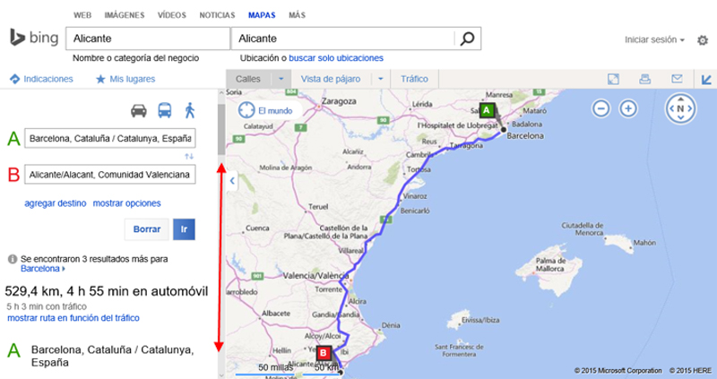 Resultado de la búsqueda de indicaciones en el buscador de mapas de Bing