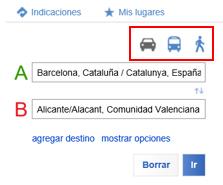 Botones para buscar rutas en transporte público o a pie