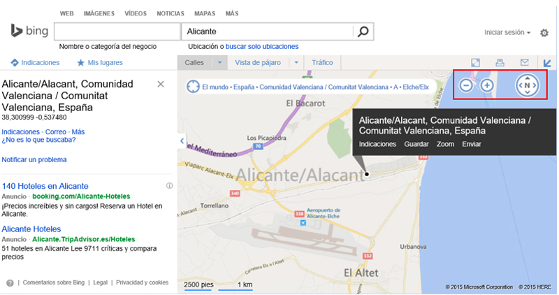 Controles de mapa en Bing