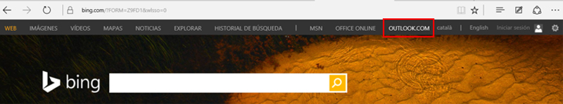 Enlace a Outlook en la barra superior de Bing