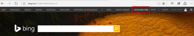 Enlace a Outlook en la barra superior de Bing
