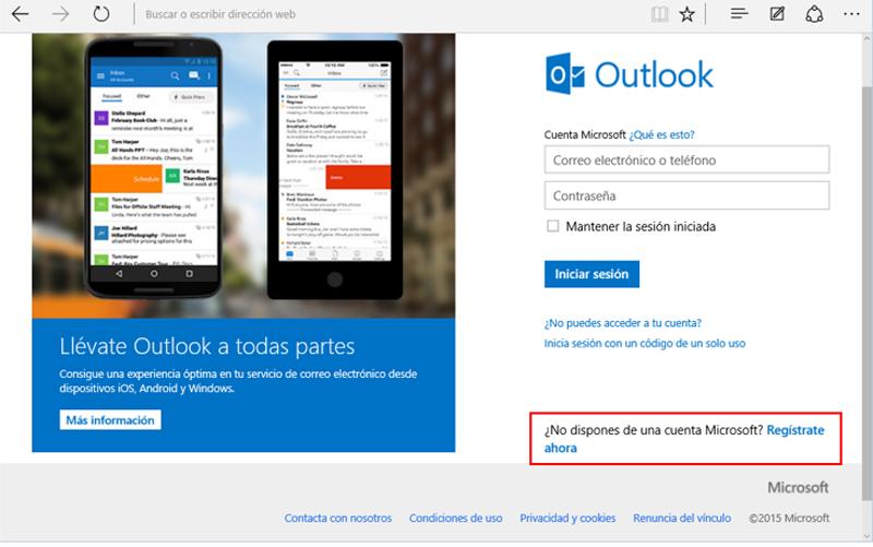 Enlace a la página de registro de Microsoft
