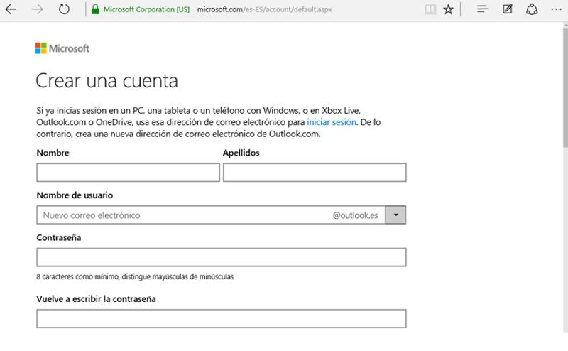 Página de registro de Microsoft
