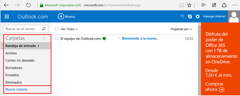 Carpetas de Outlook