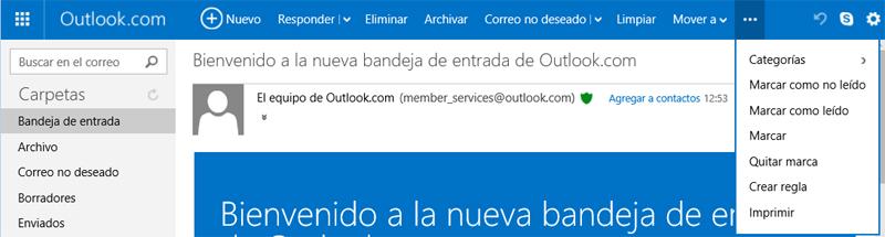 Botón Más acciones en un correo abierto