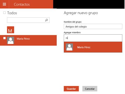 Nuevo grupo en la libreta de contactos