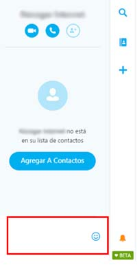 Espacio de chat en un contacto de Skype