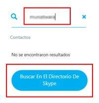 Búsqueda de usuarios en Skype
