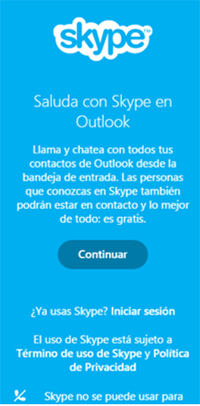 Mensaje de bienvenida de Skype