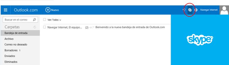 Enlace a Skype en la página de Outlook.com