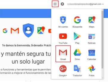 Acceso a Gmail en el botón de aplicaciones de Google