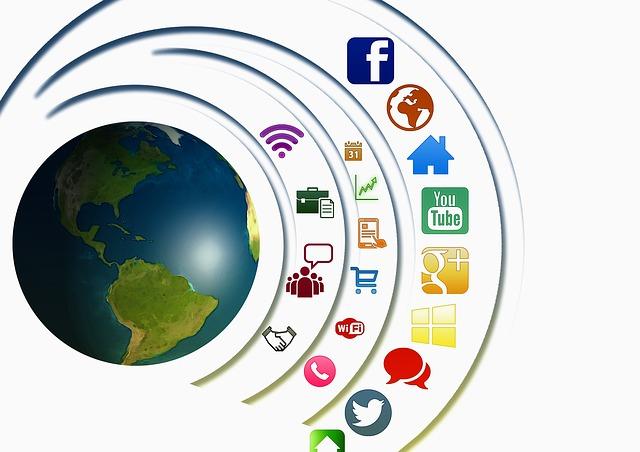 Dibujo de la tierra con iconos de redes sociales