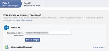 Ventanas de primeros pasos en Facebook