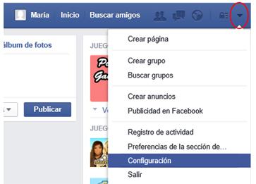 Opción de configuración de la cuenta de Facebook