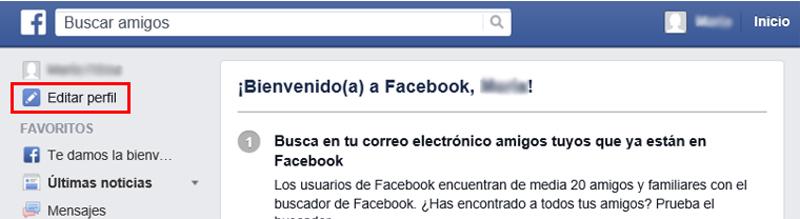 Enlace para editar el perfil de Facebook