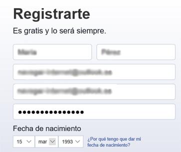 Formulario de registro de Facebook
